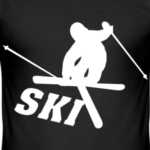 Ski, ski, skiing, après ski, freeski, winter T-skjorter - Slim Fit T-skjorte for menn