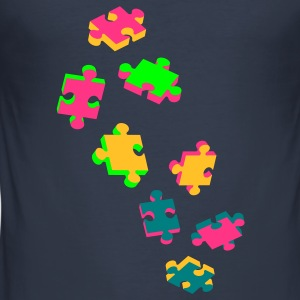four puzzle pieces  T-Shirts - Men's Slim Fit T-Shirt