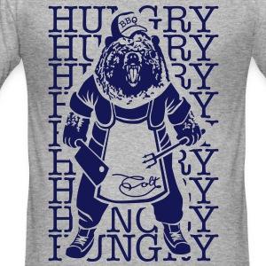 Grijs gespikkeld Hungry Barbecue Bear T-shirts - slim fit T-shirt