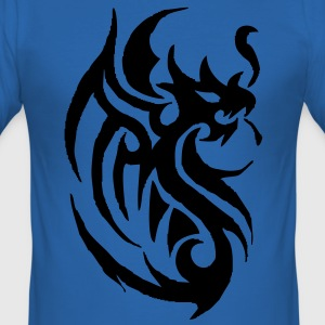 tribal tattoo dragon Camisetas - Camiseta ajustada hombre