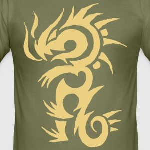tribal tattoo dragon T-shirt - Maglietta aderente da uomo