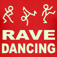Design ~ Raving Dancing Stick Men. Glow in the dark print