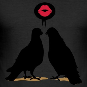 Kiss saying  Doves - Two Valentine Birds_3c T-Shirts - Männer Slim Fit T-Shirt