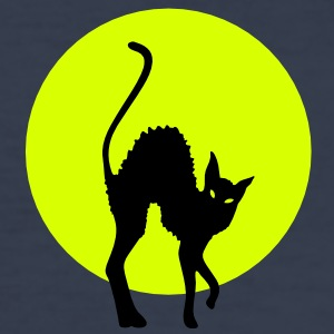 black cat full moon T-shirt - Maglietta aderente da uomo