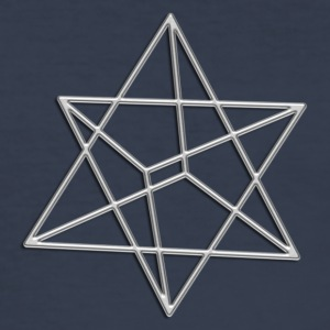 Merkaba, 3D, silver, divine light vehicle, sacred geometry, star tetrahedron, flower of life T-shirt - Maglietta aderente da uomo
