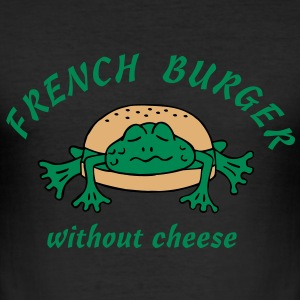 Froschburger French Burger Fastfood Frog ohne Käse without cheese Frankreich France Camisetas - Camiseta ajustada hombre