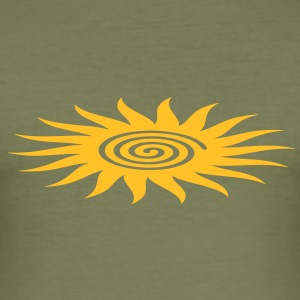 SUN SYMBOL with spiral, healing symbol, heart opener, T-Shirts - Men's Slim Fit T-Shirt