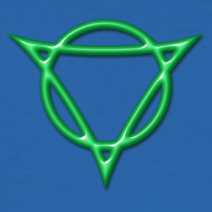 AUM - strength and radiance, digital, green, Antares symbol system, powerful symbol T-shirt - Maglietta aderente da uomo