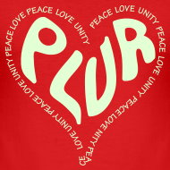 Design ~ PLUR, Peace Love unity and respect raver mantra in a love heart