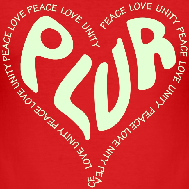 PLUR, Peace Love unity and respect raver mantra in a love heart