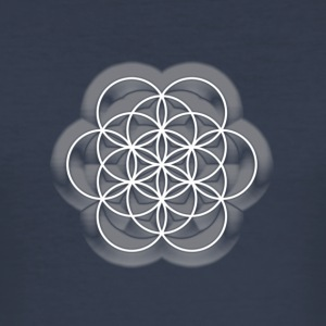 Feel the Harmony! EGG OF LIFE, digital, white, sacred geometry, energy, symbol, powerful, icon, T-Shirts - Männer Slim Fit T-Shirt