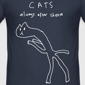 Cats. Always After Cheese T-Shirts - Men's Slim Fit T-Shirt