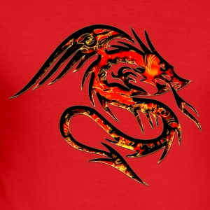 Feuer Drache, fire dragon, digital, rot,  T-Shirts - Männer Slim Fit T-Shirt