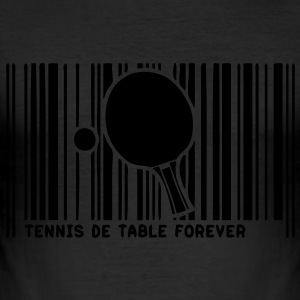 code barre pingpong tennistable raquette Tee shirts - Tee shirt près du corps Homme