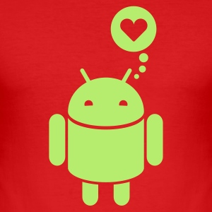 Droid in Love 1c T-Shirts - Männer Slim Fit T-Shirt