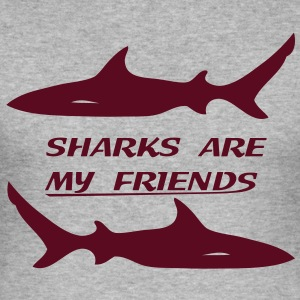 Sharks are my friends Tee shirts - Tee shirt près du corps Homme