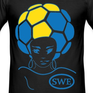 Euro 2012 SWEDEN team soccer yellow MALE SLIM FIT t-shirt with cool funky soccer ball in country flag colors. - Men's Slim Fit T-Shirt