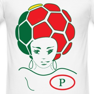Euro 2012 PORTUGAL team soccer white MALE SLIM FIT t-shirt with cool funky soccer ball in country flag colors. - Men's Slim Fit T-Shirt