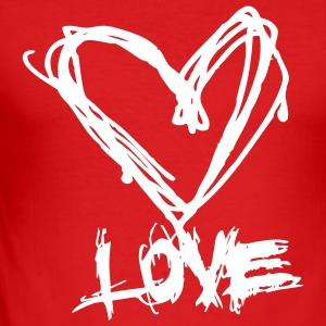 I love grunge style heart for lovers and valentine's day t shirts T-Shirts - Men's Slim Fit T-Shirt