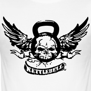 Slim Fit - Kettlebell Skull & Wings - Männer Slim Fit T-Shirt