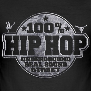 100% hip hop underground real sound street T-Shirts - Men's Slim Fit T-Shirt