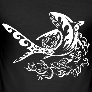 fire shark black  - Tee shirt près du corps Homme