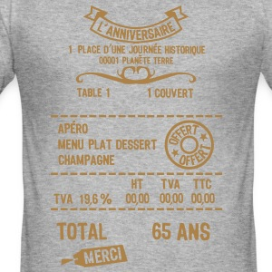 65 ans addition note resto restaur fact Tee shirts - Tee shirt près du corps Homme