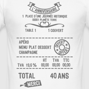 40 ans addition note resto restaur fact Tee shirts - Tee shirt près du corps Homme