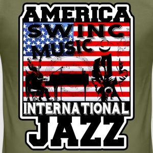 america swing music international jazz T-Shirts - Men's Slim Fit T-Shirt