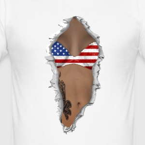 sexy flag USA T-Shirts - Men's Slim Fit T-Shirt