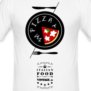 Cucina Italiana 02. Pizza T-Shirts - Men's Slim Fit T-Shirt