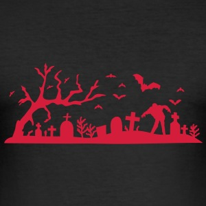 Halloween Friedhof T-Shirts - Männer Slim Fit T-Shirt