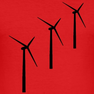 3 wind turbines wind energy T-Shirts - Men's Slim Fit T-Shirt