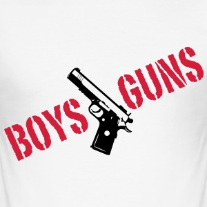 Boys love Guns  2c T-Shirts - Men's Slim Fit T-Shirt