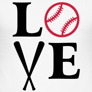I love Baseball. Schläger Ball bat bats Herz heart T-Shirts - Männer Slim Fit T-Shirt
