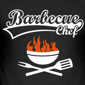 Barbecue Chef Grill Meister Grillen BBC Koch Fire  - Männer Slim Fit T-Shirt