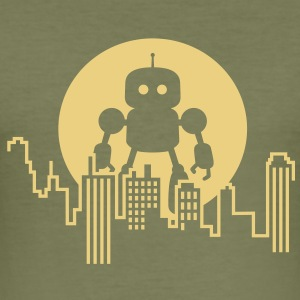 Robot City Skyline T-Shirts - Männer Slim Fit T-Shirt