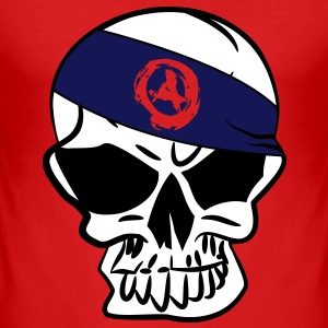 Anarchoskull Skull anarchie anarcho anarchy 3c T-shirts - slim fit T-shirt