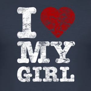 I Love my GIRL vintage light Camisetas - Camiseta ajustada hombre