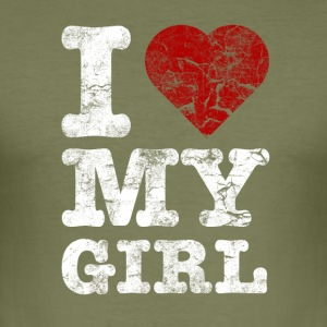 I Love my GIRL vintage light T-shirts - Slim Fit T-shirt herr