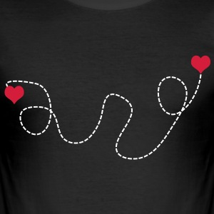 2 C. fly way of hearts heart love flying love T-Shirts - Men's Slim Fit T-Shirt