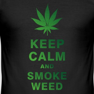 KEEP CALM AND SMOKE WEED T-Shirts - Men's Slim Fit T-Shirt