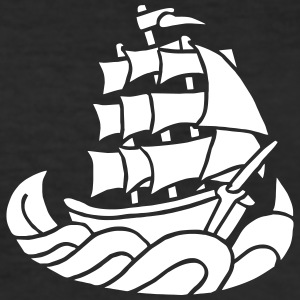 Segelschiff Dreimaster Tattoo Oldschool Sailboot T-Shirts - Männer Slim Fit T-Shirt