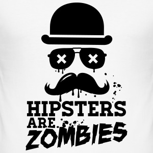 All hipsters are zombies zombie hipster undead  T-Shirts - Men's Slim Fit T-Shirt