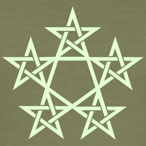Pentagram, Glow in the dark, 5 Stars, Magic T-shirts - Slim Fit T-shirt herr
