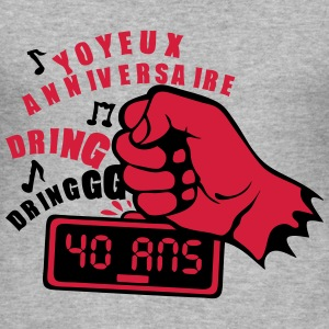 40 ans poing radio reveil frappe anniver Tee shirts - Tee shirt près du corps Homme