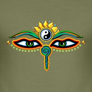 Eyes of Buddha, symbol wisdom & enlightenment,  T-Shirts - Men's Slim Fit T-Shirt