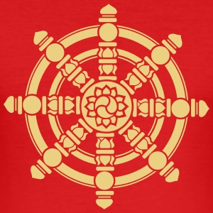 Dharma Wheel, lucky symbol, Buddhism, Chakra T-shirts - Slim Fit T-shirt herr