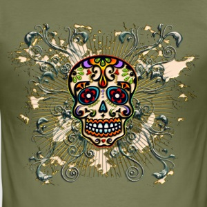 Mexican Sugar Skull - Day of the Dead Magliette - Maglietta aderente da uomo