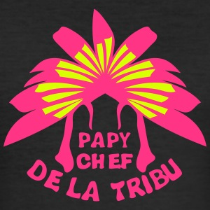 papy chef tribu coiffe indienne Tee shirts - Tee shirt près du corps Homme